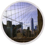 Brooklyn Bridge View Round Beach Towel