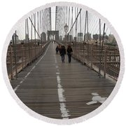 Brooklyn Bridge Walkway Round Beach Towel
