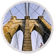 Brooklyn Bridge01 Round Beach Towel