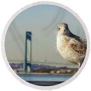 Brooklyn Seagull Round Beach Towel