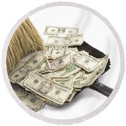 Broom Sweeping Up American Currency Round Beach Towel