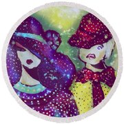 Brother And Sister  Round Beach Towel