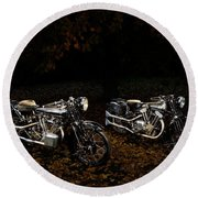 Brough Superior Ss100 And 680 Round Beach Towel