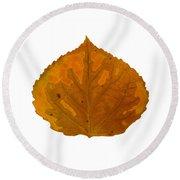 Brown And Orange Aspen Leaf 1 Round Beach Towel