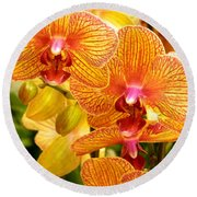 Smiling Brown And Pink Orchids Round Beach Towel