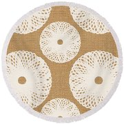Brown And White Floral Round Beach Towel