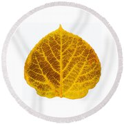 Brown And Yellow Aspen Leaf 2 Round Beach Towel