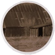 Brown Barns Round Beach Towel