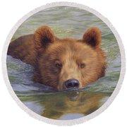 Brown Bear Painting Round Beach Towel