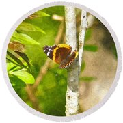 Brown Butterfly 2 Round Beach Towel