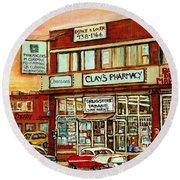 Brown Derby Van Horne Shopping Center Clay's Pharmacy Montreal Paintings City Scenes Carole Spandau Round Beach Towel