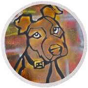 Brown Dog Round Beach Towel
