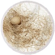 Brown Egg In Bird Nest Sepia Round Beach Towel