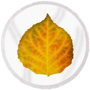 Brown Green Orange Red And Yellow Aspen Leaf 3 Round Beach Towel