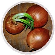 Brown Onions Round Beach Towel