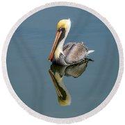 Brown Pelican Reflection Round Beach Towel