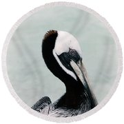 Brown Pelican Round Beach Towel