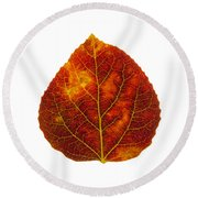 Brown Red And Yellow Aspen Leaf 1 Round Beach Towel