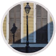 Brown Shutter Doors And Street Lamp - New Orleans Round Beach Towel