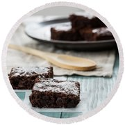 Brownies With A Wood Spoon Kitchen Art Round Beach Towel