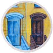 Brownstone Mural Art Round Beach Towel