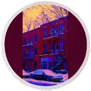 Brownstones In Winter 6 Round Beach Towel