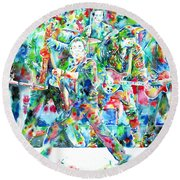 Bruce Springsteen And The E Street Band - Watercolor Portrait Round Beach Towel by Fabrizio Cassetta