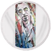 Bruce Springsteen Round Beach Towel by Joshua Morton