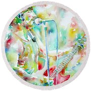Bruce Springsteen Playing The Guitar Watercolor Portrait.1 Round Beach Towel by Fabrizio Cassetta