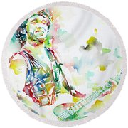 Bruce Springsteen Playing The Guitar Watercolor Portrait.2 Round Beach Towel