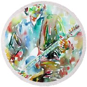 Bruce Springsteen Playing The Guitar Watercolor Portrait.3 Round Beach Towel