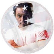 Bruce Springsteen Portrait Round Beach Towel