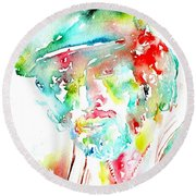 Bruce Springsteen Watercolor Portrait Round Beach Towel by Fabrizio Cassetta
