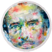 Bruce Springsteen Watercolor Portrait.1 Round Beach Towel by Fabrizio Cassetta
