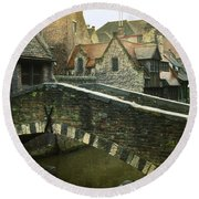 Bruges Canal Bridge Round Beach Towel
