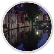 Bruges Canal Near Blind Donkey Alley  Round Beach Towel
