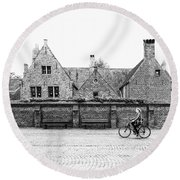Bruges Cyclist Round Beach Towel