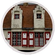 Bruges Houses Round Beach Towel