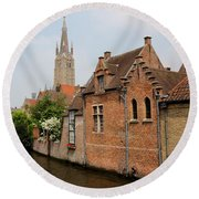 Bruges Houses With Bell Tower Round Beach Towel by Carol Groenen