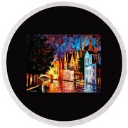 Bruges - Northern Venice Round Beach Towel by Leonid Afremov