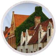 Bruges Rooftops Round Beach Towel