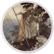 Brunnhilde From The Rhinegold And The Valkyrie Round Beach Towel by Arthur Rackham
