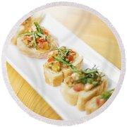 Bruschetta Italian Starter Dish Round Beach Towel
