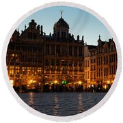 Brussels - Grand Place Facades Golden Glow Round Beach Towel