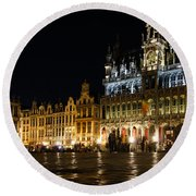 Brussels - The Magnificent Grand Place At Night Round Beach Towel