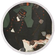 Brutality Of Policemen, Illustration Round Beach Towel
