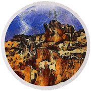 Bryce Canyon Thuderstorm Round Beach Towel