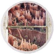 Bryce Canyon Utah View Through A White Rustic Window Frame Round Beach Towel