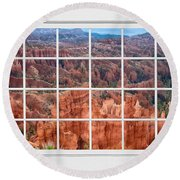 Bryce Canyon White Picture Window View Round Beach Towel