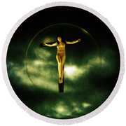 Bubble Crucifix Round Beach Towel
